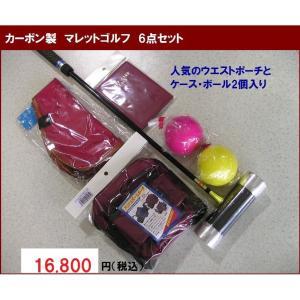 マレットゴルフ 用品 Aセット 6点 赤 カーボン製|takeuchisportspro