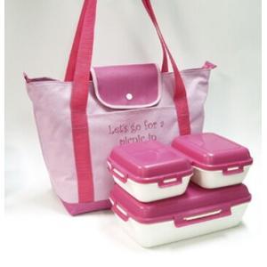 トート型バッグ付ランチボックス ピンク