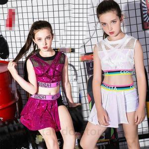 110-160サイズ選択可 キッズダンス衣装 キラキラ 衣装 セットアップ トップス&キュロ...