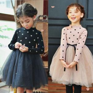 fbaa774f972d1 キッズ ドレス お姫様 ドレス 可愛い 水玉柄 長袖ワンピース チュールスカート 女の子 ワンピース フォーマルドレス キッズ ジュニア 韓国子供服