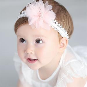 レース花付きベビーヘアバンド カチューシャ 手工作り 可愛いい 柔らかい 赤ちゃんヘアバンド 新生児髪飾り 記念写真 誕生日 出産祝い お宮参り takishohin
