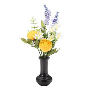 【仏壇用の仏花・造花】千の花(イエロー) S-15 花立3寸付|takita