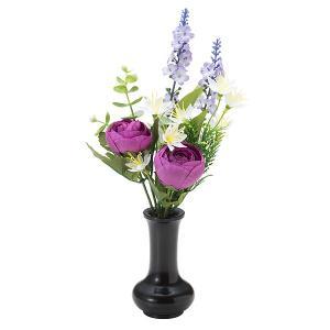 【仏壇用の仏花・造花】千の花(パープル) S-16 花立3寸付|takita