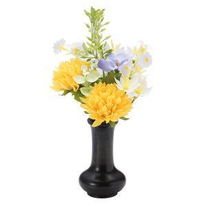 【仏壇用のミニ仏花・造花】千の花 小 (イエロー) S-12花立2.5寸付|takita