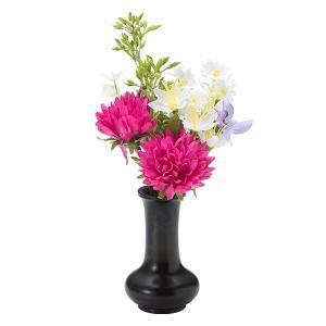 【仏壇用のミニ仏花・造花】千の花 小 (レッドパープル) S-13花立2.5寸付|takita