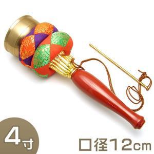 印金 朱塗り柄 4寸(携帯用リン りん)(京都製寺院用仏具)|takita