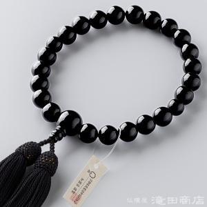 数珠 男性用 黒オニキス 22玉 念珠袋付き|takita