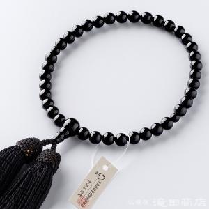 数珠 女性用 黒オニキス 7mm玉 念珠袋付き|takita