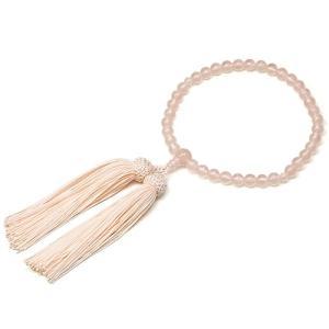 女性用数珠 紅水晶 正絹頭付房|takita