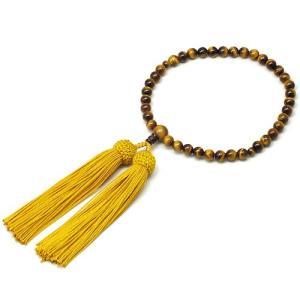 女性用数珠 虎目石 正絹頭付房|takita