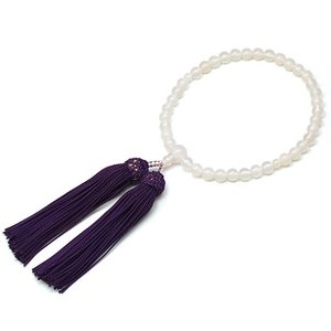 女性用数珠 白メノー 正絹頭付房|takita