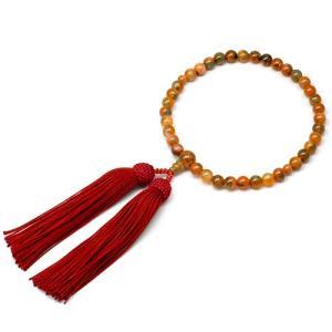 女性用数珠 赤苔メノー 正絹頭付房|takita