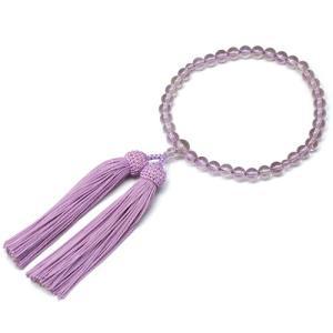 女性用数珠 ローズアメジスト 正絹頭付房|takita