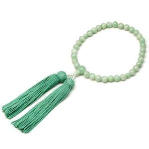女性用数珠 ビルマ翡翠 正絹頭付房|takita