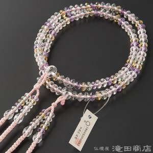 数珠 真言宗 女性用 ミックスクオーツ スターシェイプカット 8寸 宗派別念珠 数珠袋付き|takita