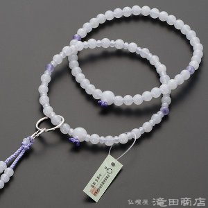 数珠 浄土宗 女性用 白オニキス 四天紫雲石 六万浄土8寸 宗派別念珠 数珠袋付き|takita