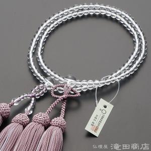 数珠 浄土真宗 女性用 本水晶 8寸 正絹頭付房(2色房)(灰桜色/白色) 宗派別念珠 数珠袋付き|takita