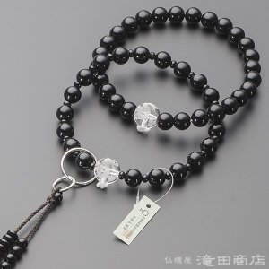数珠 浄土宗 男性用 黒オニキス 龍彫り本水晶 三万浄土9寸 宗派別念珠 数珠袋付き|takita