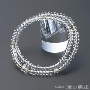 腕輪念珠 数珠 ブレスレット 108珠 本水晶 カット本水晶仕立|takita