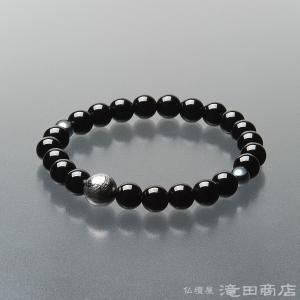 腕輪念珠 数珠 ブレスレット 親玉ギベオン隕石 黒オニキス 8mm|takita
