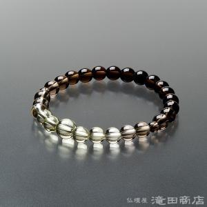 腕輪念珠 数珠 ブレスレット 茶水晶 グラデーション 7mm|takita