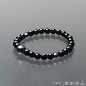 腕輪念珠 数珠 ブレスレット 黒トルマリン ヘマタイト仕立 7mm|takita