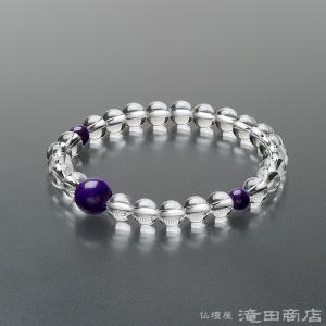 腕輪念珠 数珠 ブレスレット 本水晶 スギライト仕立 7mm|takita