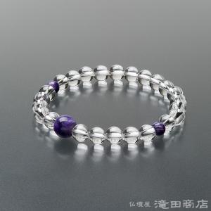 腕輪念珠 数珠 ブレスレット 本水晶 チャロアイト仕立 7mm|takita
