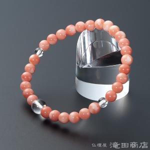 腕輪念珠 数珠 ブレスレット 深海珊瑚 本水晶仕立 6mm|takita