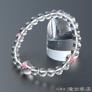 腕輪念珠 数珠 ブレスレット 本水晶 桜彫り 7mm|takita