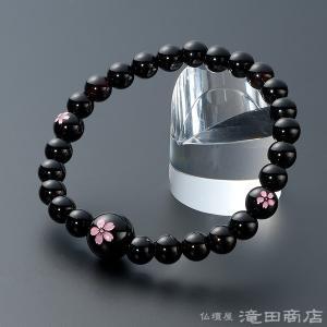 腕輪念珠 数珠 ブレスレット 黒オニキス 桜彫り 7mm|takita