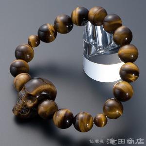 腕輪念珠 数珠 ブレスレット 骸骨彫り(髑髏彫り) 虎目石 12mm|takita