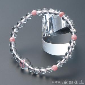 腕輪念珠 数珠 ブレスレット 本水晶 ウサギ彫り インカローズ5天 6mm玉|takita
