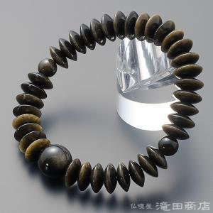 腕輪念珠 数珠 ブレスレット 金黒曜石(ゴールデンオブシディアン) 平玉 12×5mm玉|takita