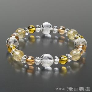 四神ブレス 数珠 ブレスレット ルチルクオーツ10mm 黄水晶&ゴールドオーラ8mm takita