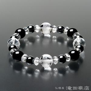四神ブレス 数珠 ブレスレット 黒オニキス10mm ヘマタイト8mm 本水晶SSP takita