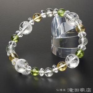 四神ブレス 数珠 ブレスレット ペリドット8mm グリーンファントム&黄水晶8mm takita