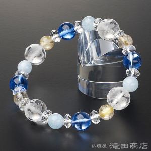 四神ブレス 数珠 ブレスレット ブルー水晶10mm アクアマリン&ルチルクオーツ8mm takita
