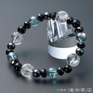 四神ブレス 数珠 ブレスレット ブルーオーラ10mm 黒オニキス&ヘマタイト8mm カットスピネル takita