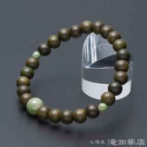 腕輪念珠 数珠 ブレスレット 緑檀 独山玉仕立 8mm(尺二玉) takita