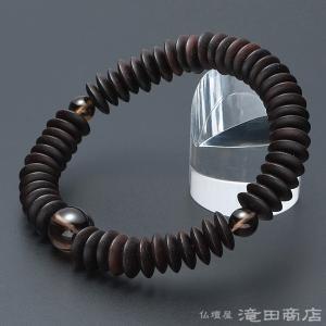 腕輪念珠 数珠 ブレスレット 縞黒檀(艶消) 平玉 茶水晶仕立 54玉|takita