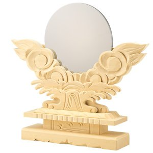 神鏡(上彫り台付) 金属製「本鏡」 4寸 takita