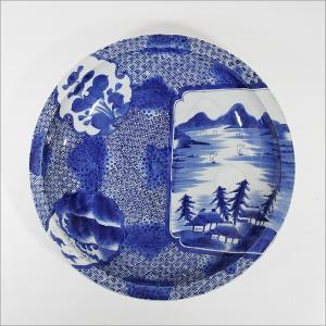 古伊万里『染付 花鳥山水図大皿 』 乾銘 丸皿 幾何学文様 飾皿 大作 直径約49cm 古陶磁 古美術 時代|takiya-art