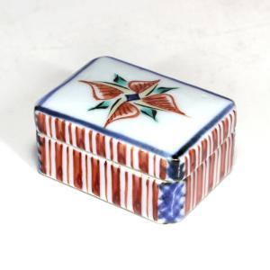 人間国宝 富本憲吉 『 色絵香盒 』 香合 蓋物 二重箱 共箱 昭和12年 四弁花 銘有|takiya-art