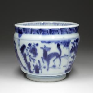 『 染付鹿人物図火入 』人物 鳥獣 中国 古伊万里 古陶磁 古美術 茶道具 煙草 香道|takiya-art