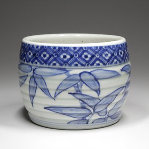 『 染付竹図花格子文火入 』 古陶磁 古美術 古伊万里 中国 煙草 香道 茶道具|takiya-art