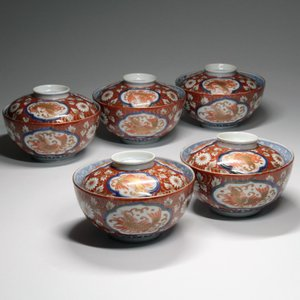 古伊万里『 赤絵鯱文花唐草蓋茶碗 』中国 古陶磁 古美術 時代 吉祥 動物|takiya-art