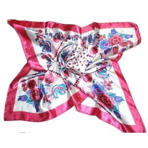 華麗で富貴な7シルク調 花柄90角正方形大判スカーフ (A1〜A10)|takouya|13