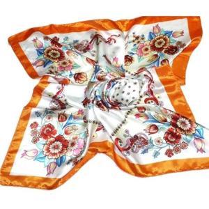 華麗で富貴な7シルク調 花柄90角正方形大判スカーフ (A1〜A10)|takouya|15