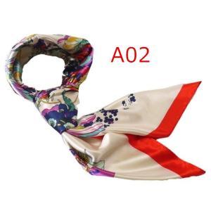 華麗で富貴な7シルク調 花柄90角正方形大判スカーフ (A1〜A10)|takouya|04